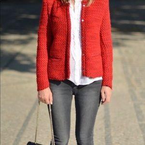 Red Boucle 4-Pocket Jacket, Size 14